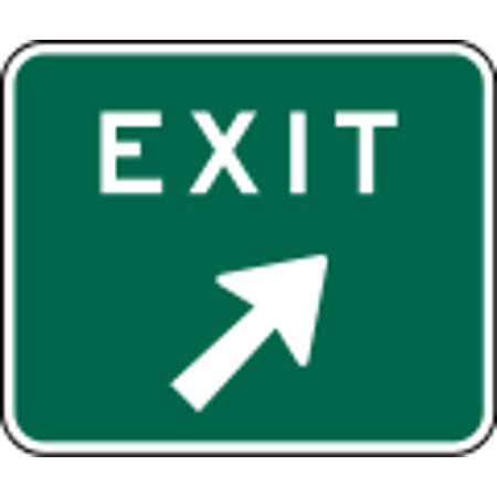 Traffic Signs - Exit sign, right 12 x 18 Peel-n-Stick Sign Street Weather Approved Sign Steel Exit Sign