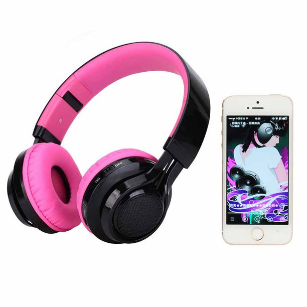 Bluetooth Headphones Light Up Foldable Stero Wireless Headset With Microphone And Volume Control For Pc Cell Phones Tv Pad Pink Walmart Com Walmart Com