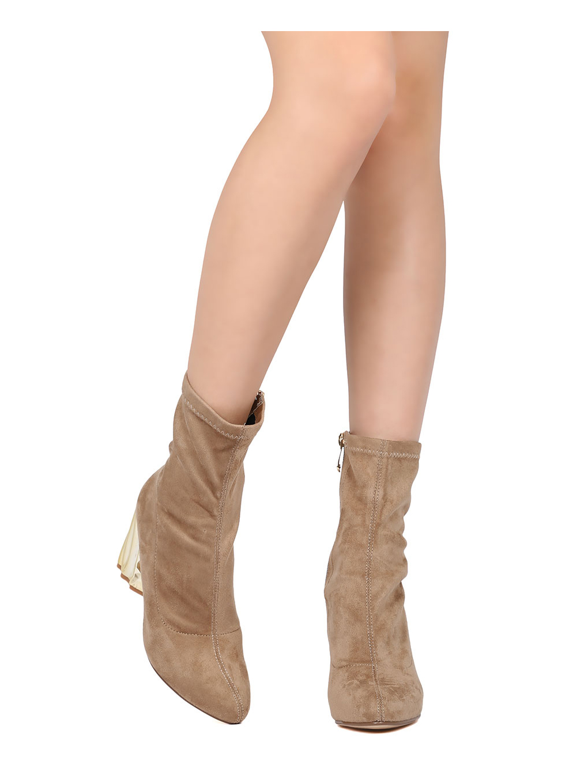 Women Faux Suede Structural Chunky Heel Bootie - Dressy, Office, Formal - Metallic Block Heel Boot - GD08 By Cape Robbin