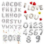 16 40 Large Foil Balloons Silver Letter Number Inflated Float Helium Balloon Birthday Wedding