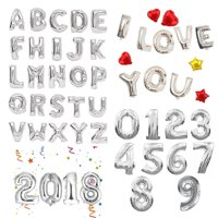 """16"""" 40"""" Large Foil Balloons Silver Letter Number Inflated Float Helium Balloon Birthday Wedding Christmas Party Banner Decoration"""