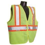 2X-Large Hi-Viz Green Mesh Safety Vest With Two-Tone Trim