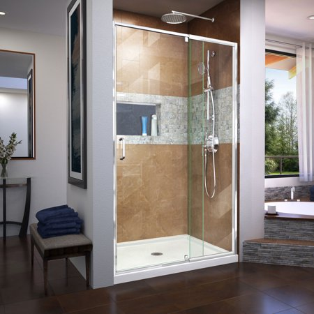DreamLine Flex 44-48 in. W x 72 in. H Semi-Frameless Pivot Shower Door in Chrome Custom Pivot Shower Door