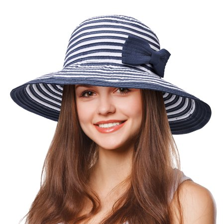 - Tirrinia Women Floppy Sun Hat Wide Brim Beach Cap with Bowknot, Striped