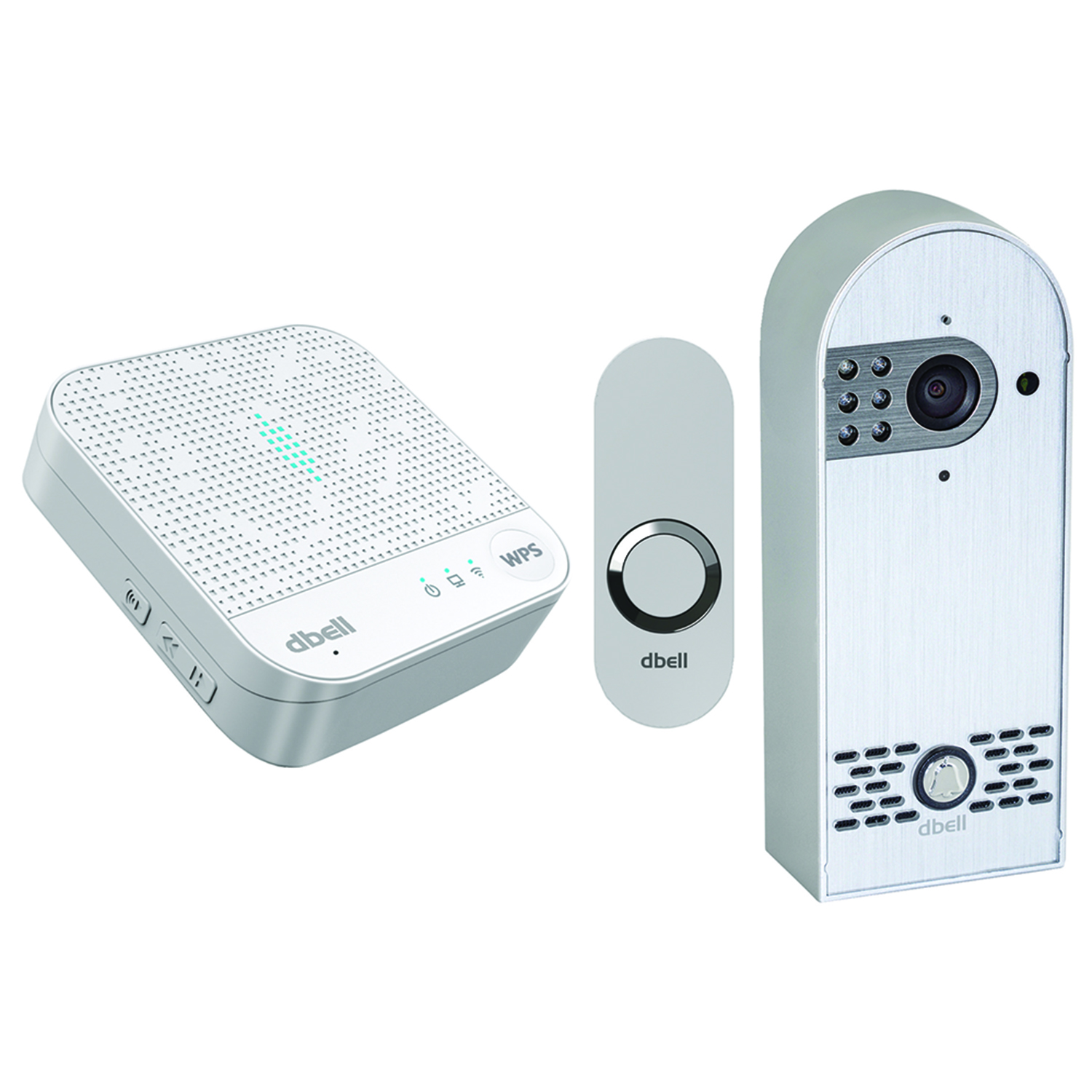 Dbell DB-HD-LIVE-S Video Doorbell Silver & DB-WRAB-W Wi-Fi Extender Doorbell by dbell