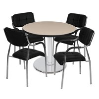 "Via 36"" Round Platter Base Table- Beige/Chrome & 4 Uptown Side Chairs- Black"