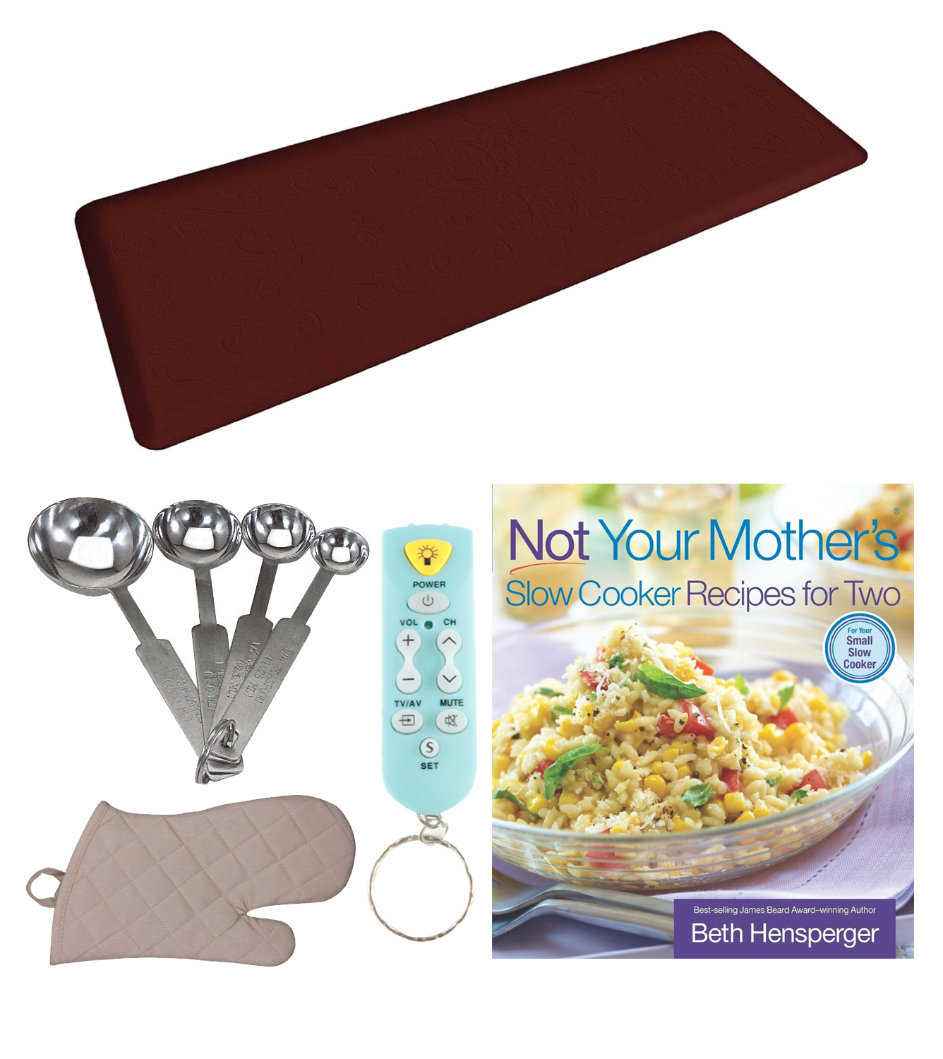 WellnessMats 6' x 2' Original Anti-Fatigue Floor Mat (Burgundy) Kitchen Bundle