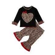 Dewadbow Toddler Kids Baby Girl Valentine's Day Clothes T-shirt Tops+Pants Outfits Set