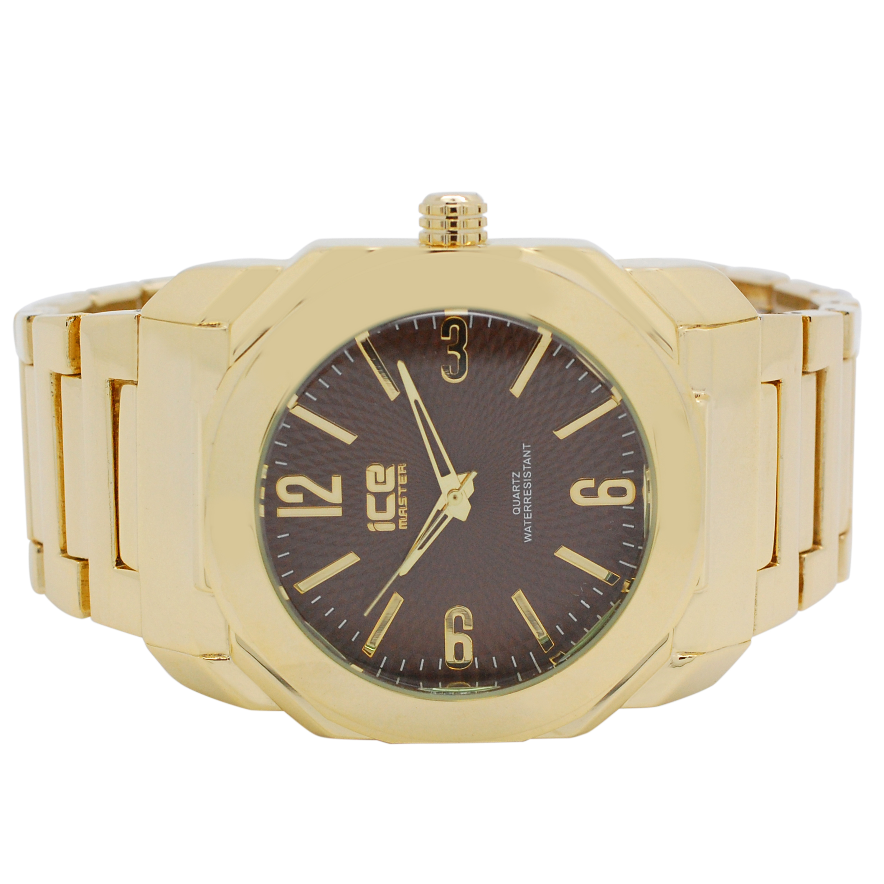 Mens Trendy Ice Master Full Designer Gold on Brown Dial Gold Metal Band Watch