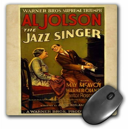 3dRose image of ad for jazz singer with al jolson, Mouse Pad, 8 by 8 (Al Jolson Sitting On Top Of The World)