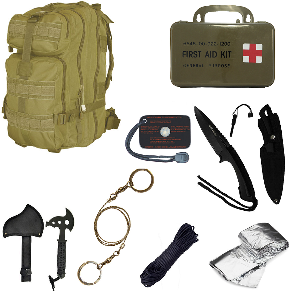 Ultimate Arms Gear Level 3 Assault MOLLE Tan Backpack Kit; Signal Mirror, Polarshield Blanket, Knife Fire Starter, Wire... by