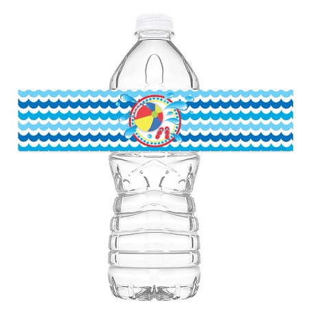 Pool Party Bottle Wraps - 20 Water Bottle Labels - Pool Party Decorations - Made in the USA - Classic (Classic Decorations)