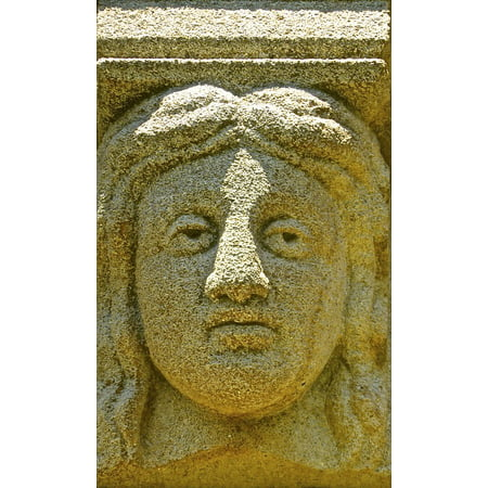 LAMINATED POSTER Head Stone Ancient Face Carving Sandstone Relief Poster Print 24 x 36