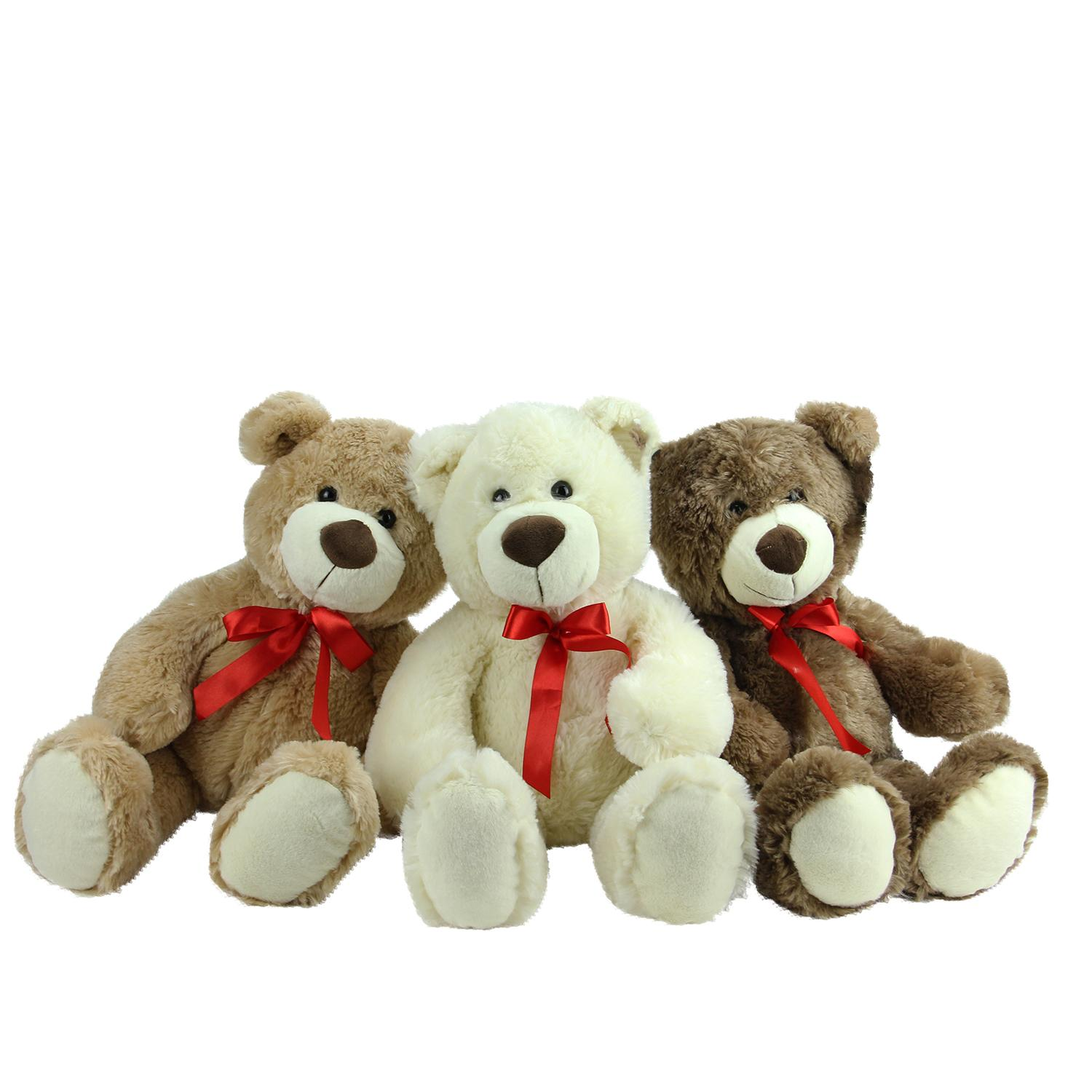 Set of 3 Brown Tan & Cream Plush Children's Teddy Bear Stuffed Animal Toys 20""