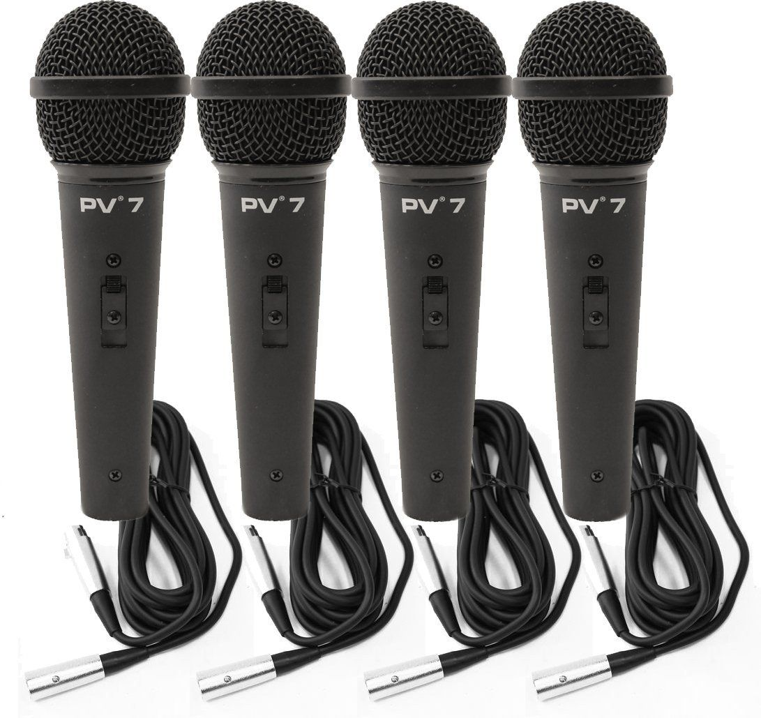 4 Peavey PV 7 ND Magnet Dynamic Microphone w  XLR Cables by