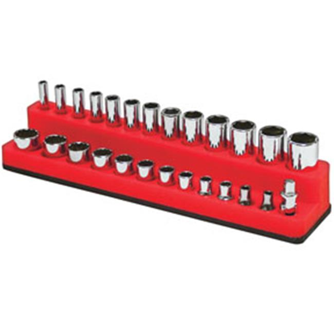 MTS-727 0.25 in. Drive Shallow & Deep 26-Hole Magnetic Socket Organizer, Rocket Red