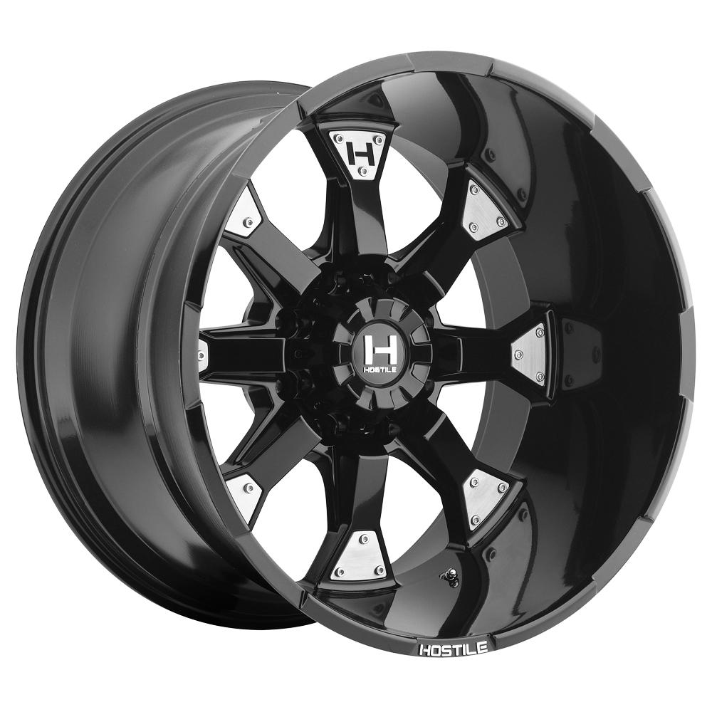 "20"" Inch Hostile H101 Knuckles 20x9 8x6.5"" +10mm Satin Black Wheel Rim"