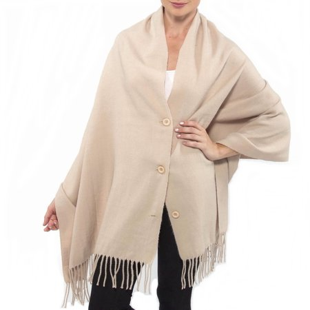 Alpine Swiss Womens Pashmina Button Up Shawl Cape Poncho Blanket Scarf Wrap