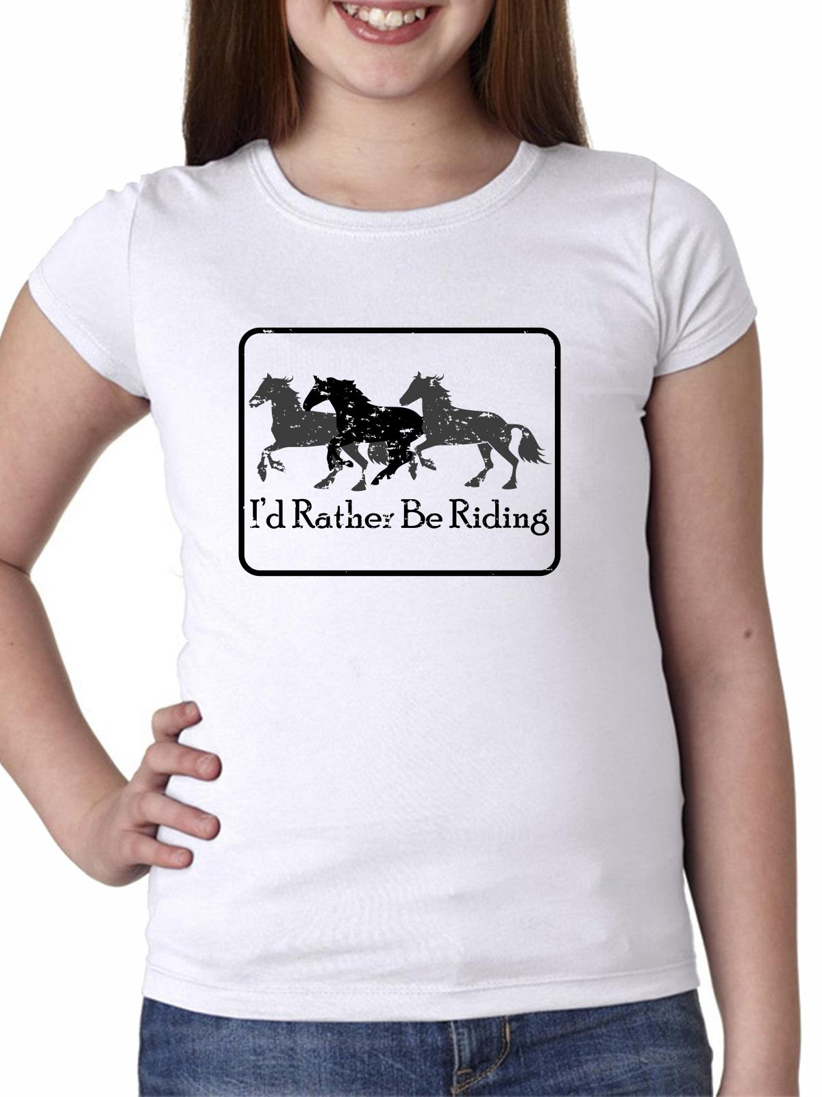 I'd Rather Be Riding - Equestrian Horse Riding Motto Girl's Cotton Youth T-Shirt