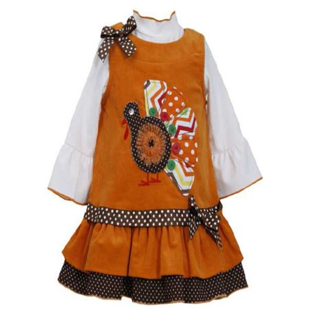 Newborn Girls Orange Turkey Corduroy Jumper Dress  3-6 months 3-6 (Corduroy Print Jumper)