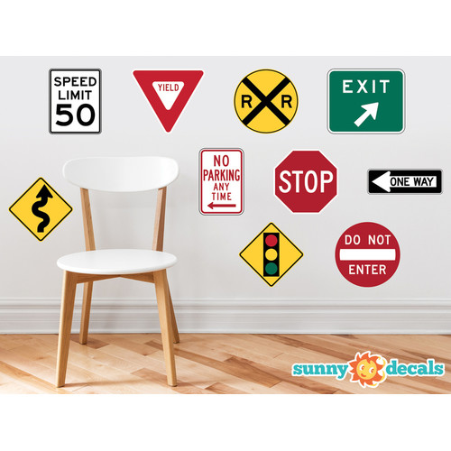 Sunny Decals Street Signs Fabric Wall Decal