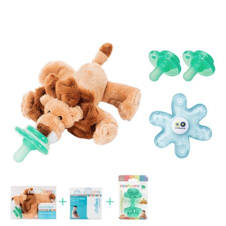Nookums Paci Plushies Lion Baby Gift Set Pacifier Holder Teether