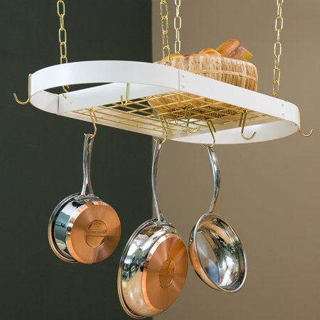 - The Gourmet Oval Kitchen Pot Rack with Grid