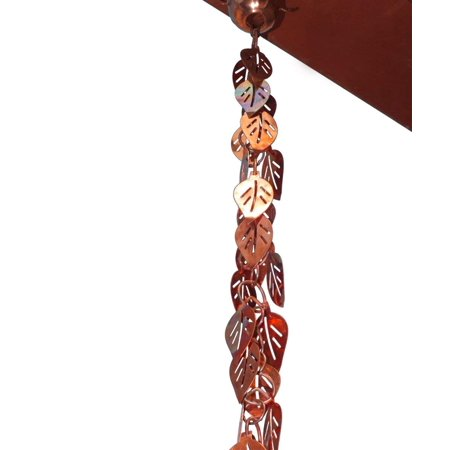 Monarch Pure Copper Cascading Leaves Rain Chain, 8-1/2 Feet Length
