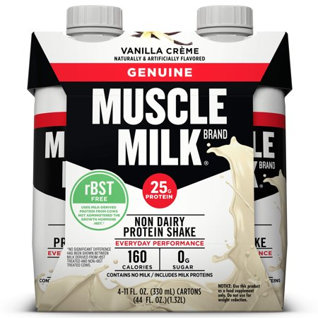 Muscle Milk Genuine Non-Dairy Protein Shake, Vanilla Crème, 25g Protein, Ready to Drink, 11 fl. oz., 4 Pack ()
