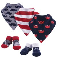 Hudson Baby Boy Cotton Bib and Sock Set, 5pc