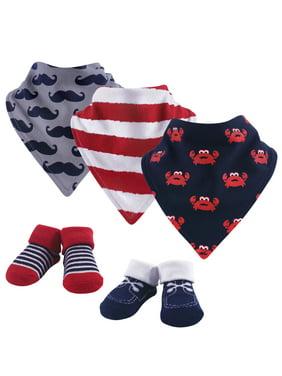 Hudson Baby Baby Boy Bandana Bibs & Socks, 5-Piece Set, Crab