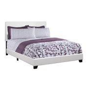 Monarch Queen White Faux Leather Bed