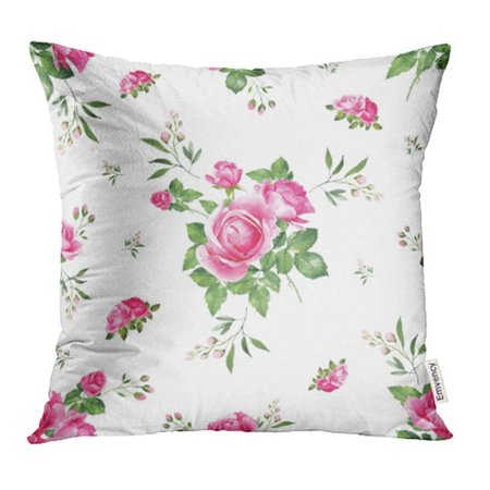 ARHOME Blue French Pink Roses Bouquet Watercolor Shabby Chic Style Aroma Bloom Blossom Pillow Case Pillow Cover 16x16 inch Throw Pillow Covers
