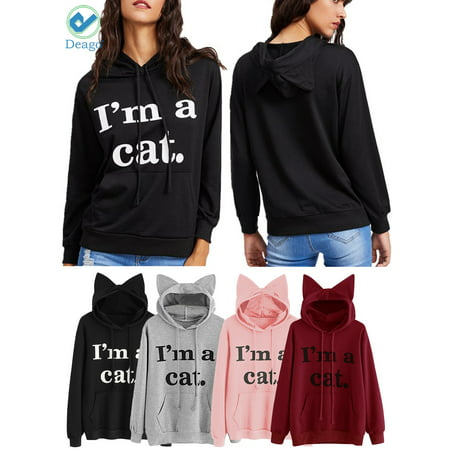 Deago Women's Long Sleeve Pouch Sweatshirts Large Pockets Slogan Letter Printed Hoody Cute Cat Ear Pullover Hoodie ()