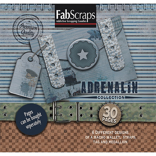 Fabscraps Adrenaline Die-Cut Work Book, 8 inch x 8 inch, 30 Pages Featuring 6 Different Designs