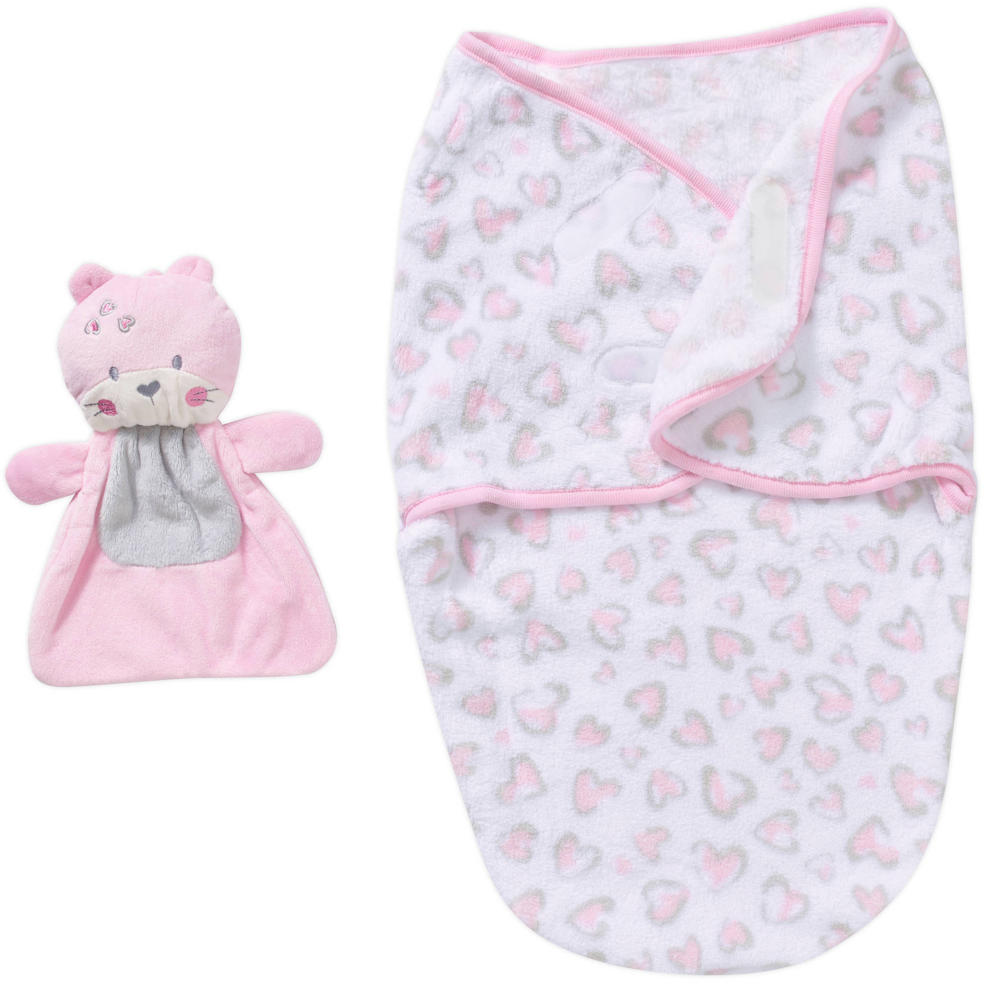 dccb0b61e51e Lovespun Newborn Baby Girl Blanket with Plush Buddy - Walmart.com