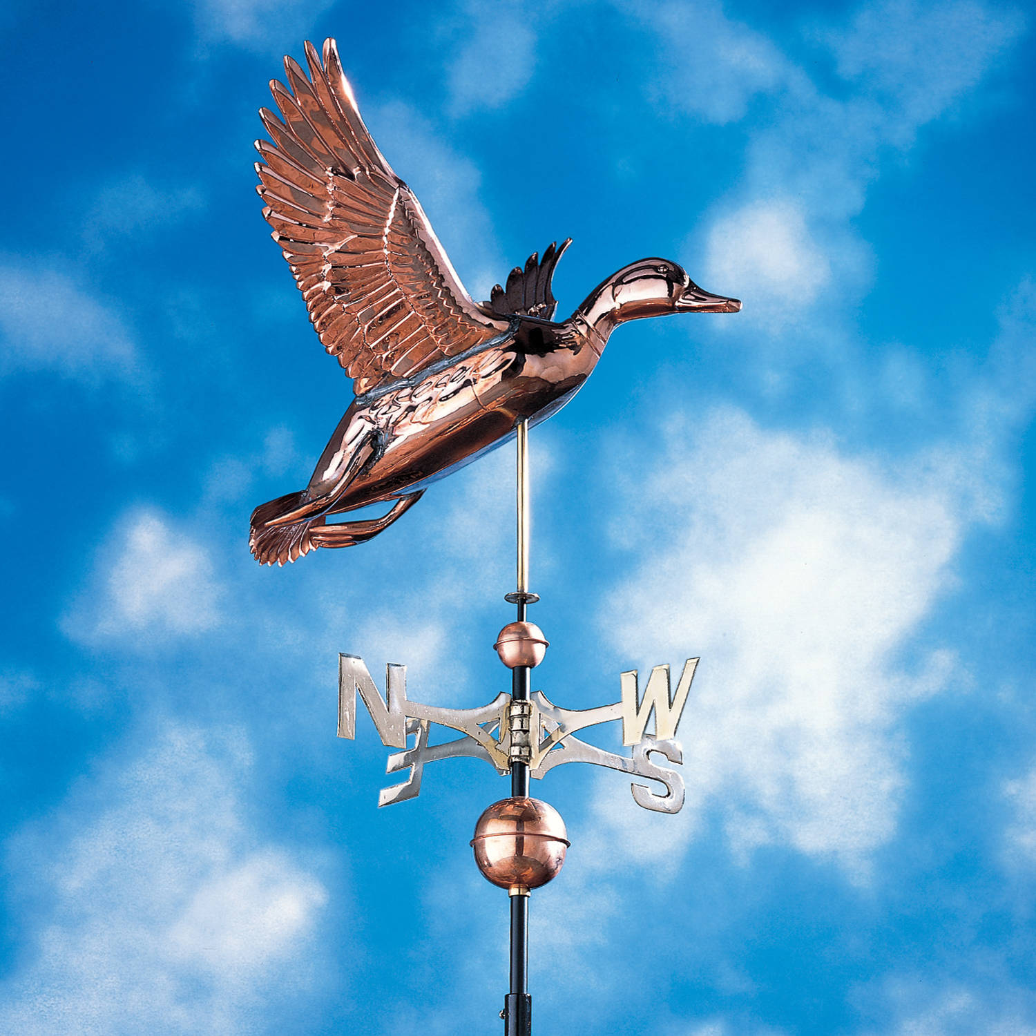Copper Duck Weathervane, Polished by