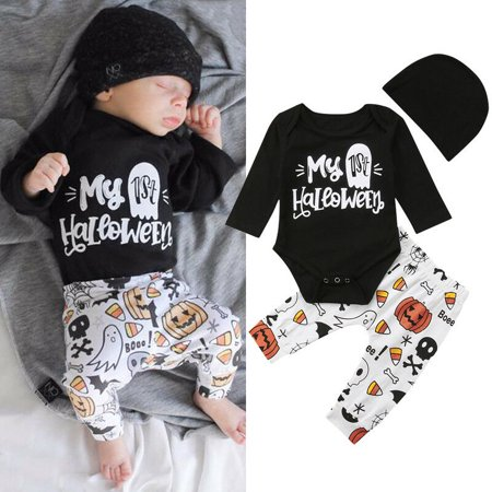 My First Halloween (Newborn Baby Boy Girl My 1st Halloween Romper Jumpsuit Pants Outfits Set)