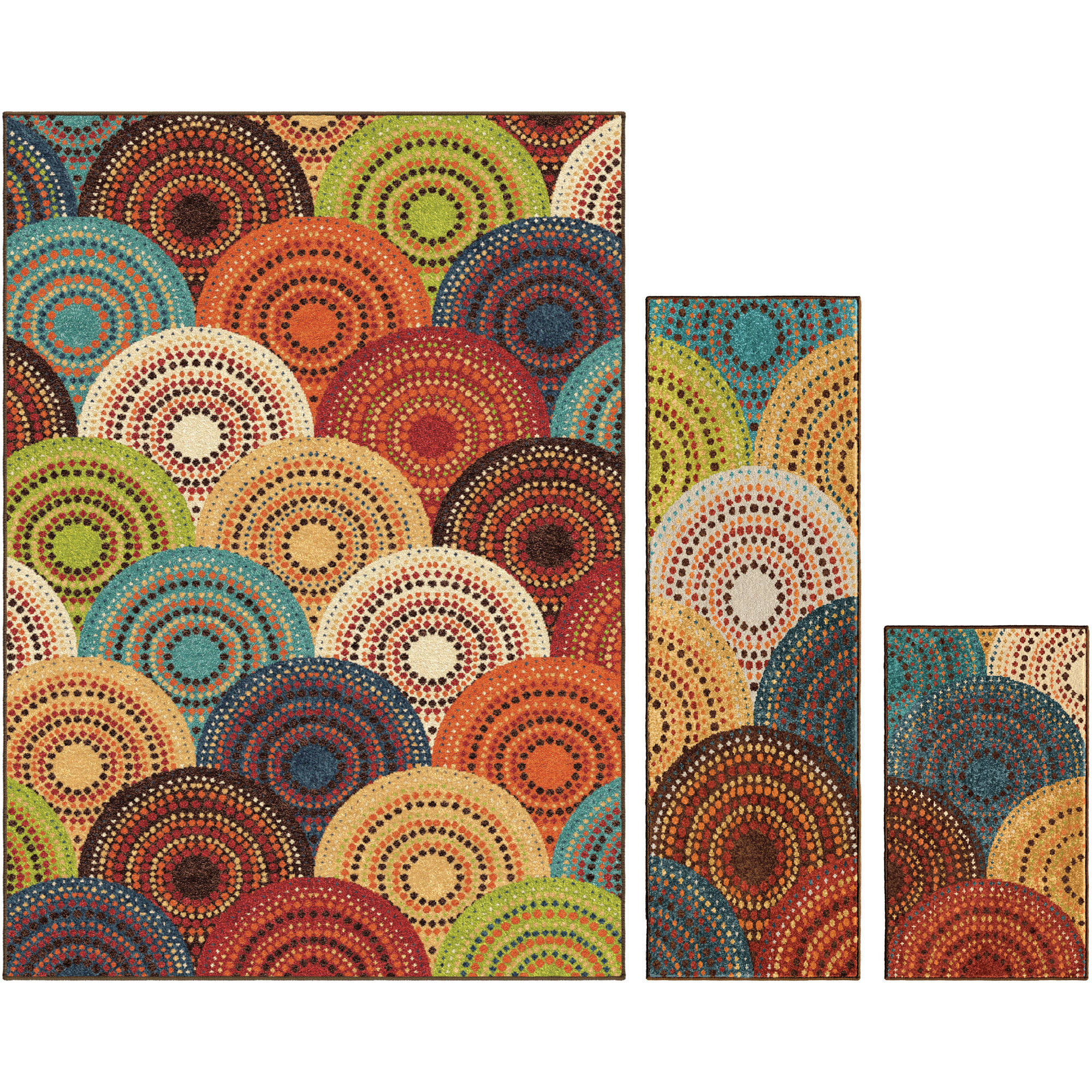 Better Homes and Gardens Bright Dotted Circles Area Rug Set