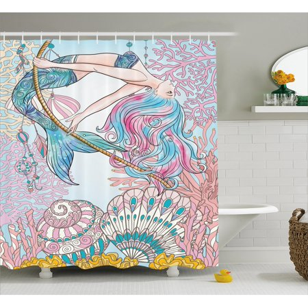 Mermaid Shower Curtain, Cartoon Mermaid in Sea Sirens of Greek Myth Female Human with Tail of Fish Image, Fabric Bathroom Set with Hooks, Pink Blue, by Ambesonne (Geek Shower Curtain)