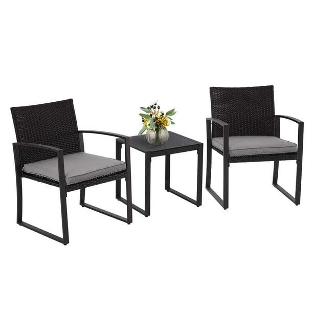 Suncrown 3 Piece Outdoor Patio Bistro, Black Wicker Outdoor Furniture Sets