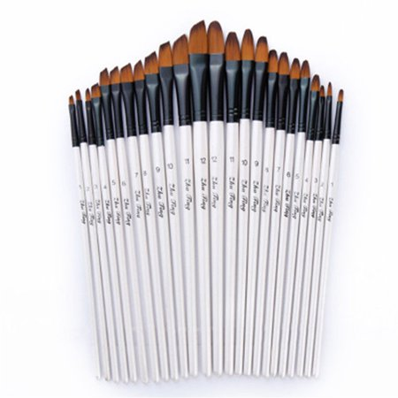 Artist Paint Brushes Set Art Painting Supplies Acrylic Oil Paintings Kids 12 Pcs White Chubby Paint Brush Set