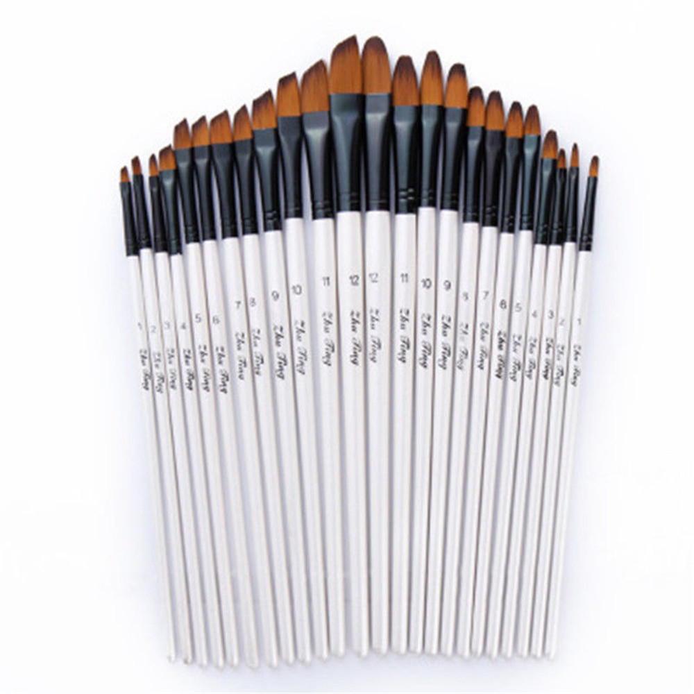 Artist Paint Brushes Set Art Painting Supplies Acrylic Oil Paintings Kids 12 Pcs White