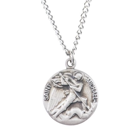 Saint Michael Archangel - Pewter Saint St Michael the Archangel Dime Size Medal Pendant, 3/4 Inch