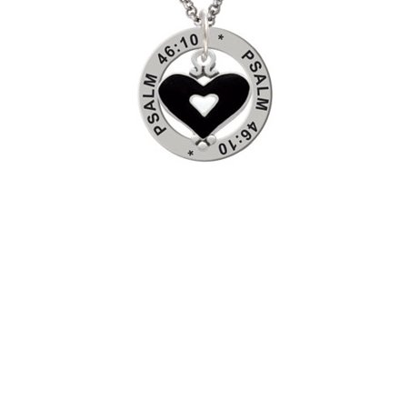 Black and White Enamel Heart Psalm 46:10 Affirmation Ring - Black And White Hearts