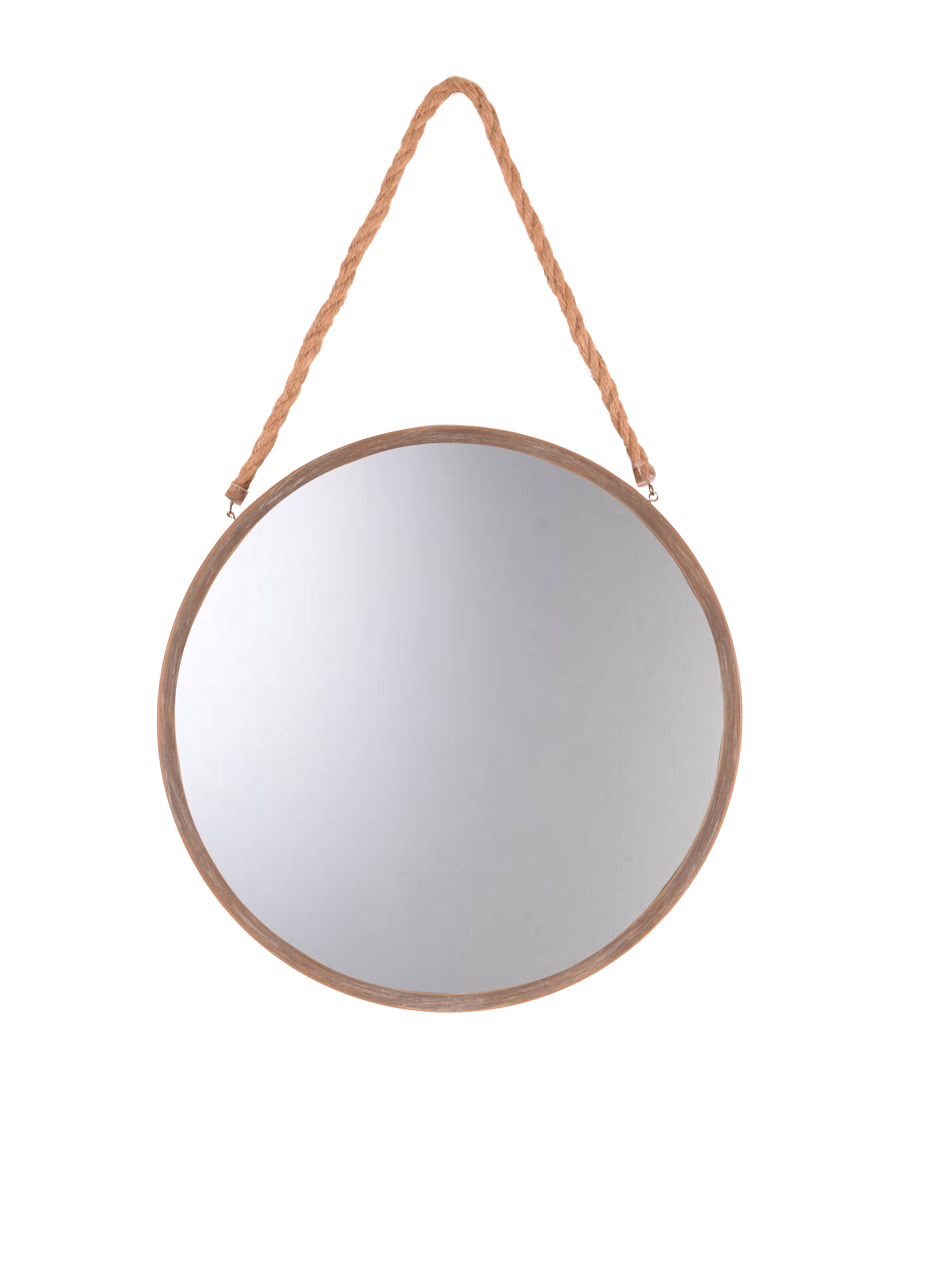 Better Homes and Gardens 16 inch Natural Finish Round Mirror with Rope Hanger by PATTON PICTURE COMPANY