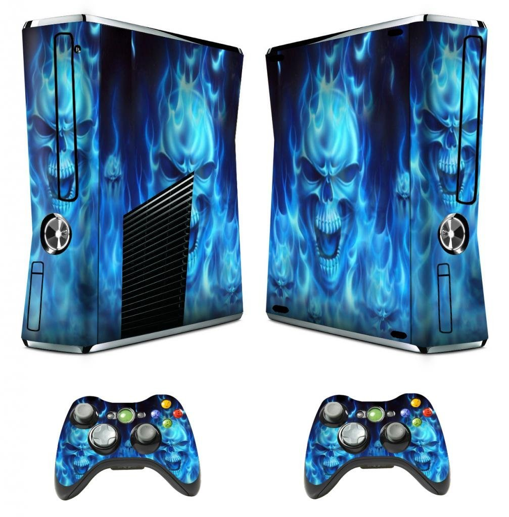 Vinyl Decal Protective Skin Cover Sticker for Xbox 360 Slim Console and 2 Controllers - Skull of Blue Fire