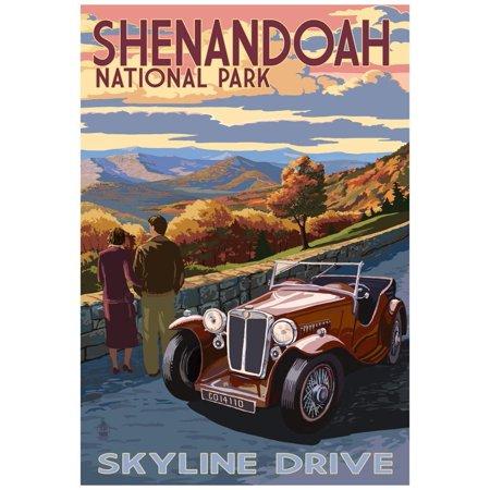 Shenandoah National Park, Virginia - Skyline Drive Poster - 13x19 Shenandoah National Park Map