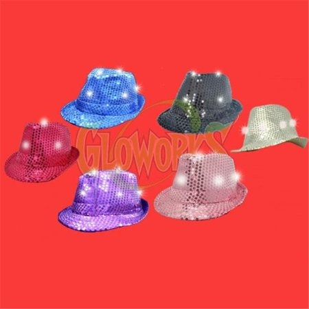 Gloworks LED Sequin Fedora Hat, Assorted Color - Pack of 12 - Sequin Fedora