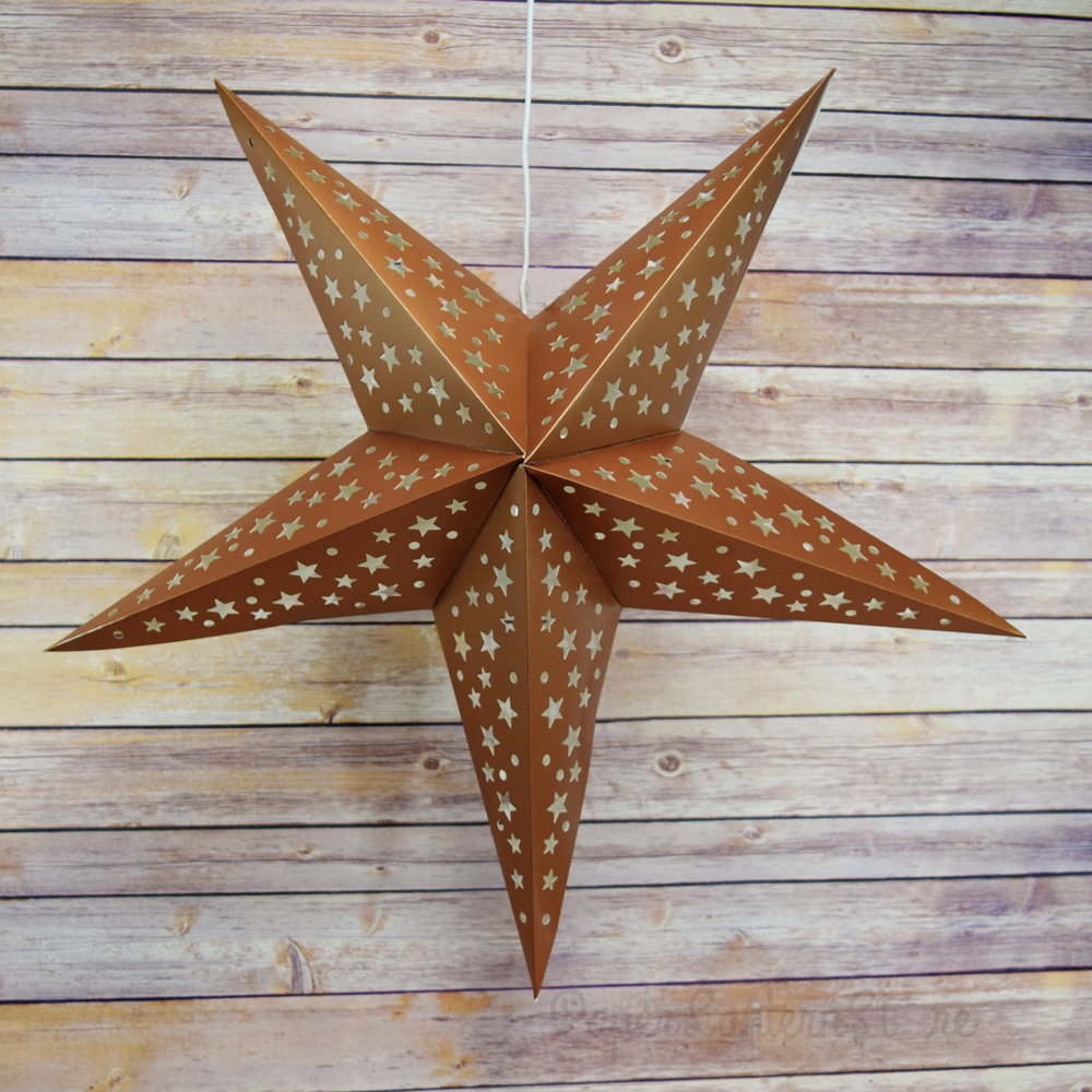 "Quasimoon 24"" Copper-Brown Paper Star Lantern, Hanging Decoration by PaperLanternStore"